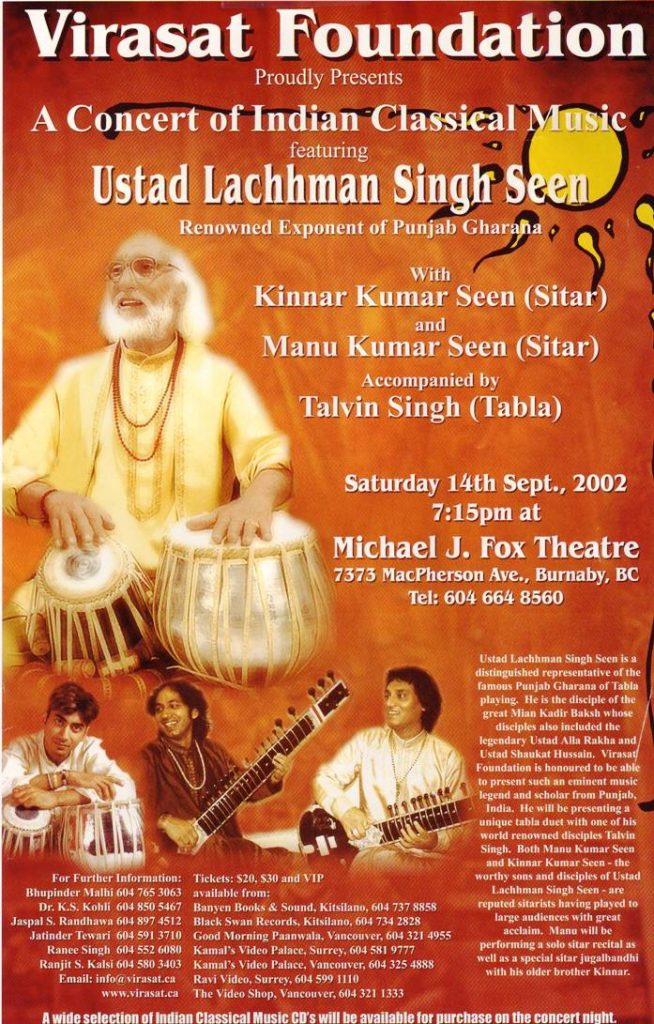 A Concert featuring Ustad Lachhman Singh Seen – 2002